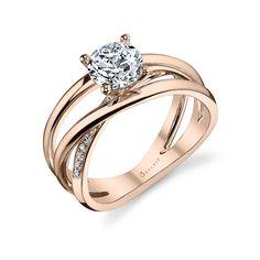 Modern Crisscross Rose Gold Solitaire Diamond Engagement ring