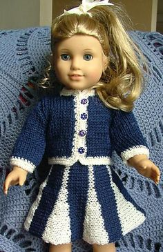 Crochet Dolls Clothes ABC Knitting Patterns - American Girl Doll Suit with Godet Skirt American Girl Outfits, American Doll Clothes, Ag Doll Clothes, Crochet Doll Clothes, Knitted Dolls, Doll Clothes Patterns, Crochet Dolls, Doll Patterns, American Dolls