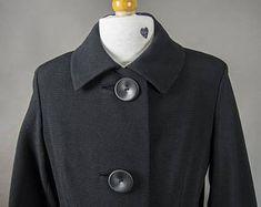 """Vintage 60's Black Wool Ladies Coat """"Jackie O"""" Style, Retro 60's Wool Coat 3/4 Sleeves, Retro 60's Wool Coat """"Audrey Hepburn"""" Style"""
