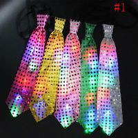 Tie Necktie LED Flashing Light Up Bow Mens Party Lights Sequins Bowtie Wedding