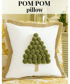 Pom-pom christmas tree cushion