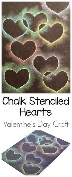 Easy Valentine's Day Art Project for Kids: Heart Collage Using Chalk and Stencils- Kids can practice cutting their own heart shaped stencils and using chalk to make these cool, colorful hearts that look like they're lighting up! ~ http://BuggyandBuddy.com