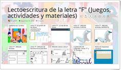 """""""11 Juegos, actividades y materiales para el aprendizaje de la LETRA F"""" Map, Lyrics, Teaching Resources, Cursive, Learning, Games, Location Map, Maps"""
