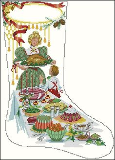 Time for Feasting Christmas Stocking Holders, Stocking Tree, Diy Christmas Ornaments, Cross Stitch Christmas Stockings, Cross Stitch Stocking, Christmas Minis, Christmas Cross, Winter Stockings, Cross Stitch Designs
