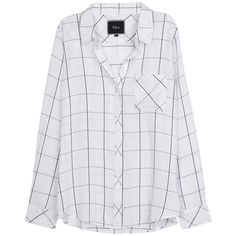 Womens Long-Sleeved Tops Rails Hunter White Checked Flannel Shirt ($195) ❤ liked on Polyvore featuring tops, checkered flannel shirts, white long sleeve shirt, white shirt, curved hem shirt and long sleeve flannel shirts