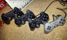 On instagram by retro.g4mer #playstation1 #microhobbit (o) http://ift.tt/1SRkndF #evolution of the #playstation #controller !!!! #sony #ps1 #ps2 #ps3 #ps4 #gamer #gamingcollection #retrogamer #retro #playstation4  #playstation2 #playstation3