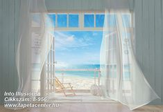 Invite the gorgeous Malibu coastline into your life everyday with this stunning trompe l'oeil beach wall mural. Gauzy white curtains billow in the sea breeze of an open window, with a sunny California beach scene stretching as far as the eye can see. Beach Wall Murals, Large Wall Murals, Sea Murals, Wall Art, Poster Xxl, San Tropez, Seaside Beach, Sunny Beach, Beach Wood