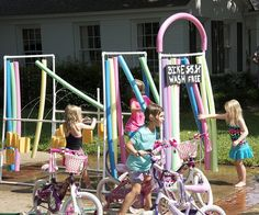craazy cool ideas for using pool noodles pool-noodle bike wash :)