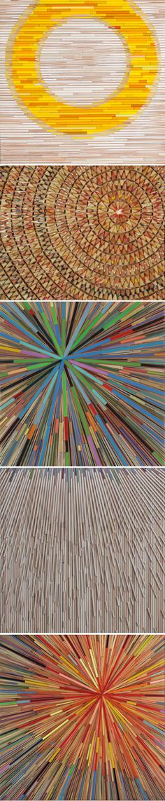Brightly hued colored pencils arranged in stunning, graphic patterns. artist David Poppie
