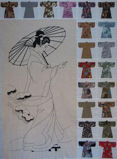 Kimono Quilt Blocks and Geisha Panel by UrbanDetritus on Etsy, $45.00