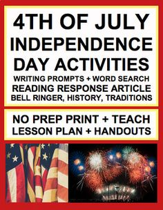 INDEPENDENCE DAY LESSON PLAN & ACTIVITIES: NO PREP Lesson Plan & Student Printables for INDEPENDENCE DAY / FOURTH OF JULY. Simply Print, Project & Teach this INDEPENDENCE DAY / FOURTH OF JULY! #independencedaylesson #fourthofjulylesson
