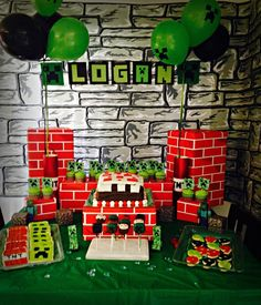 Awesome Minecraft boy birthday party!  See more party ideas at CatchMyParty.com!