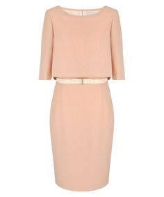 Peach round neck bow belt dress Sale - Paola Collection