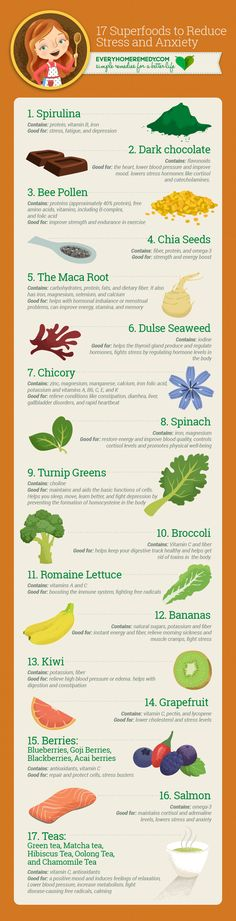 17 Superfoods to Reduce Stress and Anxiety - Naturally  #natural #remedies