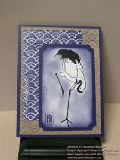 hand crafted card ... Crane Mingle: OSA ... luv the sponged blotchy color behind bird ...