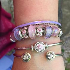 It's another perfect summer morning and, hey ho, it's back to work I go! #pandora #pandorabeads #pandoracharms #myarmparty #dosummer #new #pandorabangle #magnolia #enamel #flowerbeads #pink #purple #shimmer #murano #glassbeads #crystals #pinkpetitefacets #hearts #purplebangle #myarmparty #lovemyjob @theofficialpandora