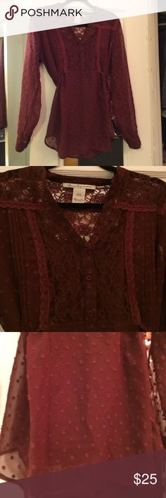BLACK FRIDAY SALE! Beautiful Sheer Lace Blouse Burgundy Lace Sheer Top. Ties in back. Comes with separate tank. Made in India. Worn once. No trades American Rag Tops Blouses