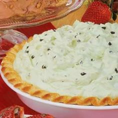 Mint Chocolate Chip pie. I make this a lot for Christmas and New Years. It's so good, I could eat the whole thing myself!