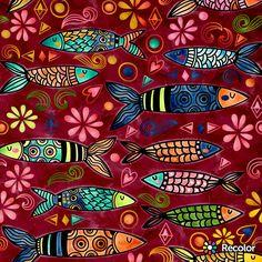 Wood Fish, Arte Popular, Fish Art, Coloring Books, Cards, Murals, Mosaics, Paintings, Messages