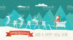 abstract polygonal illustration of santa sleigh in winter landscape stock vecteur libres de droits libre de droits