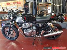 The Royal Enfield 650 Twins (Interceptor and Continental GT were spotted sporting new colour schemes at a dealership in Australia; Enfield Bike, Enfield Motorcycle, Motorcycle Style, Royal Enfield Bullet, Royal Enfield Accessories, Royal Enfield Modified, Enfield Himalayan, Black Beast, Cafe Racer Bikes