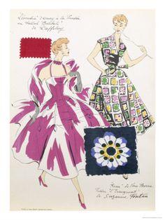 Sketches and Fabric Swatches, from L'Oficiel de La Couleur Des Industries de La Mode Giclée-Druck bei AllPosters.de