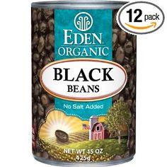 Eden Organic Black Beans, No Salt Added, 15-Ounce Cans (Pack of 12), (organic food, bpa free, low salt, black beans, certified organic grocery, beans, bpa, food, additives, bean)