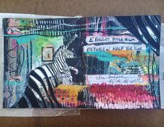 a new journal spread titled 'sudden' is up on the blog (link in profile to view!) // #art #artjournal #artjournaling #mixedmedia #mixedmediaart #illustration #paint #painting #zebra #artwork #alteredbook #visualjournal #abstractart #journaling
