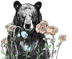 A Bear in Our Garden  Bear Art Print by corelladesign on Etsy, $20.00