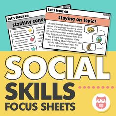 Social skills visuals for reaching a variety of skills including topic maintenance, conversation skills, perspective taking, and more! A great tool for social groups and speech and language therapy! Perfect for students with autism. From Speechy Musings.