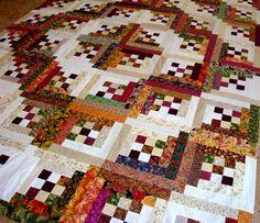 Nine patch log cabin quilt