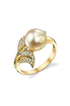 18K Yellow Gold 9mm Golden South Sea Pearl & Diamond Leaf Ring
