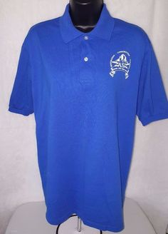 "Jerzees Men's Blue/White ""ASJ Restoration, Const, Cleaning"" Polo Shirt Size M #JERZEES #PoloRugby"