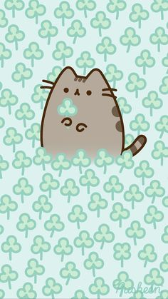 Pusheen the cat iphone wallpaper background spring clovers st. Wallpaper Gatos, Cat Wallpaper, Kawaii Wallpaper, Unique Wallpaper, Perfect Wallpaper, Chat Kawaii, Kawaii Cat, Cute Wallpaper Backgrounds, Cute Cartoon Wallpapers