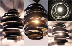 Vortex: Recycled steel wine barrel hoops #Hoops, #Metal, #MetalRings, #PendantLight, #RecycledWineBarrels, #SteelHoops