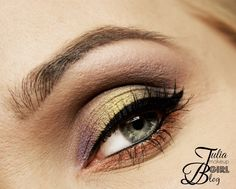 Beautiful multicolored look by Julia-B using Makeup Geek's Vanilla Bean and Barcelona Beach eyeshadows, Bewitched, Liquid Gold, Vegas Lights and Paparazzi pigments along with Immortal gel liner.