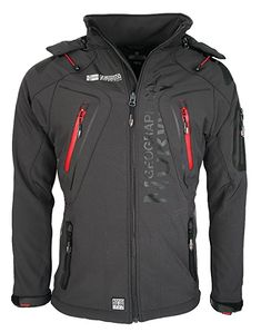 Geographical Norway Herren Softshell Funktions Outdoor Jacke wasserabweisend [GeNo-5-Dunkelgrau-Gr.S]