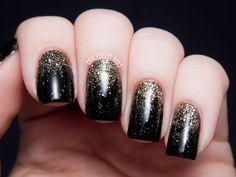 I cuticle glitter gradients...Party Perfect: Black and Gold Nail Art Ideas | Chalkboard Nails | Nail Art Blog