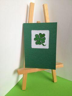 St. Patrick's Day Cross Stitch Card with Shamrock