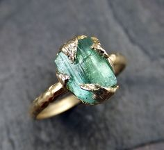 Raw Sea Green Tourmaline Gold Ring Rough Uncut by byAngeline