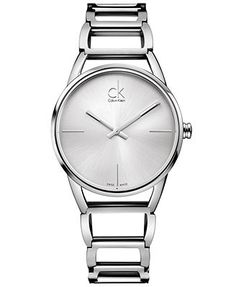 ck Calvin Klein Watch, Women's Swiss Stately Stainless Steel Bracelet 34mm K3G23126