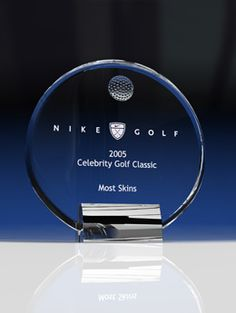 Golf Ovation - Sports Crystal Awards by Eclipse Awards A Smooth circular crystal piece accented by a crystal golf ball and supported by a chrome base. Glass Awards, Crystal Awards, Trophy Plaques, Golf Trophies, Custom Awards, Fundraising Events, Circle Design, Golf Ball, Corporate Gifts