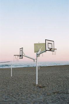 basketball court on beach, clever