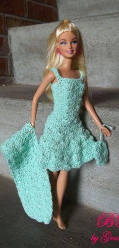 Irresistible Crochet a Doll Ideas. Radiant Crochet a Doll Ideas. Barbie Patterns, Doll Clothes Patterns, Clothing Patterns, Crochet Barbie Clothes, Crochet Dolls, Barbie Dress, Barbie Doll, Barbie Wardrobe, Beautiful Crochet