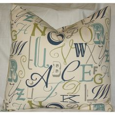@Overstock - Modernize the living room or any room in the home with this Fancy Alphabet throw pillow cover that have large scale letters. This stylish cover is easy to maintain and saves your pillows from wear.http://www.overstock.com/Main-Street-Revolution/Taylor-Marie-Fancy-Alphabet-ABC-Throw-Pillow-Cover/7732978/product.html?CID=214117 $24.99