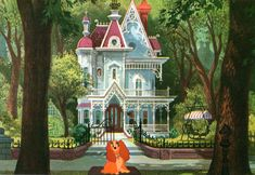 """Lady in front of her house from Walt Disney's """"Lady and the Tramp"""" (1955)."""