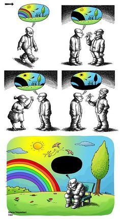 100 Anti-System Cartoons by Exiled Iranian Cartoonist Mana Neyestani We already live in paradise Iranian cartoonist Mana N, who portrays his own and the peoples of the world with his pen, pointing at Memes Humor, Funny Memes, 9gag Funny, Satire, Illustrator Design, Pictures With Deep Meaning, Satirical Illustrations, Meaningful Pictures, Deep Art