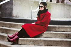 The Lady in Red | FASHION IS MY RELIGION | photo Alex C.D. photography | #black #sunglasses #forever21 #beanie #red #vintage #coat #boots #lechateau #scarf