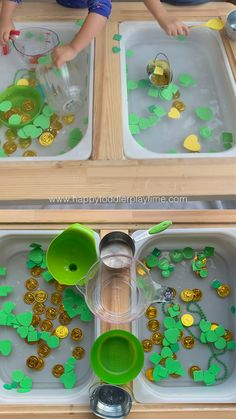 Check out this St Patrick's Day sensory activity that your toddler or preschooler will absolutely love! It's a great way to talk about colours and shapes! Toddler Learning Activities, Spring Activities, Sensory Activities, Infant Activities, Toddler Art, Toddler Preschool, Preschool Crafts, Toddler Sensory Bins, Baby Sensory