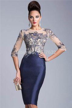2015 nueva sirena elegante medias mangas appliques del cordón stain Formal del vestido de noche